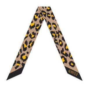 Gucci Silk Neck Bow in Leopard Print